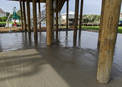 freshly poured cement on the coast